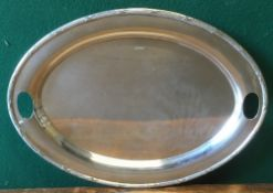 A large George V silver tray, hallmarked Sheffield 1917, maker's mark of Walker & Hall 56.5 cm wide.