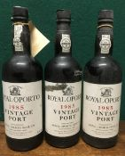 Royal Oporto 1985 Vintage Port Three bottles.