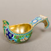 A small Russian enamel decorated silver gilt quaich Of typical form,