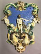 A fine 18th century South European majolica architectural fixture Of escutcheon form,