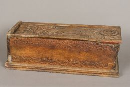 An antique Burmese carved hardwood box Of rectangular form,