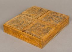 A 19th century Continental treen carved wooden box Of shallow rectangular form,