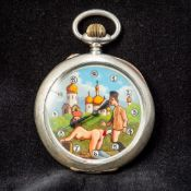 An open face pocket watch The dial with Arabic numerals and decorated with an erotic scene. 5.