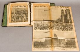 A scrapbook containing newspaper cuttings relating to the history of Zeppelin airships The front