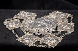 An Edwardian Art Nouveau silver belt, hallmarked Birmingham 1903,
