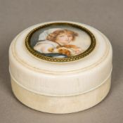 A 19th century ivory box and cover Of circular form,