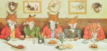After HARRY BINGHAM NEILSON (1861-1941) British Mr Fox's Hunt Breakfast Print,