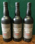 Peatlings Crusted Port Bottled 1988 Three bottles.