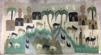 Style of RAMSES WISSA WASSEF SCHOOL (1911-1974) Egyptian An Egyptian tapestry Worked with a goat