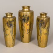 A set of three Japanese Meiji period mixed metal inlaid bronze vases Each decorated with a cockerel