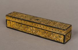 An Eastern carved stone pen box Of hinged rectangular form,