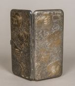 An Oriental 950 Sterling silver cigarette case Of hinged form,
