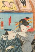 UTAGAWA KUNIYOSHI (1797-1861) Japanese Coloured woodblock print Signed with calligraphic text and