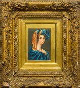 SOPHIA SAUNDERS (19th century) British Portrait miniature of a Lady Wearing a Blue Turban