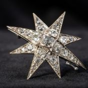 A Victorian unmarked white gold or platinum diamond set brooch Of star form,