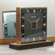 An Art Deco Jaeger LeCoultre double faced desk clock Of flattened square section form with