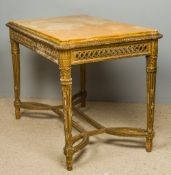A 19th century marble topped carved giltwood centre table The shaped sienna marble inset top above