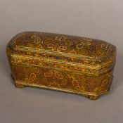A 19th century Kashmiri box Typically decorated with domed removable lid and shaped bracket feet.