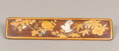 A 19th century Japanese shibyama and lacquered wooden panel Worked with a bird and butterfly