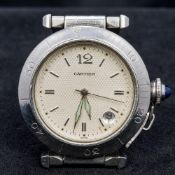 A Cartier stainless steel cased gentleman's wristwatch The engine turned champagne dial inscribed