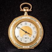 A 14 K gold and enamel cased Cyma open faced pocket watch The dial with Arabic numerals and