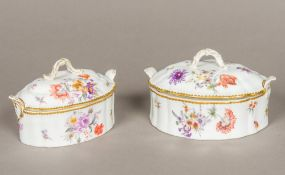 Two 19th century Nymphenburg porcelain tureens and covers Typically decorated with floral sprays,