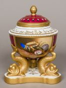 A Samson 'Derby' pot pourri vase and cover The pierced cover above a painted seashell panel signed