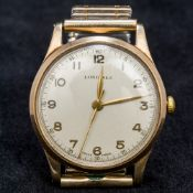 A 9 ct gold cased Longines gentleman's wristwatch The silvered dial with Arabic numerals inscribed