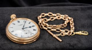 A George V 9 ct gold cased pocket watch The 1 5/8 inch white enamel dial with subsidiary seconds
