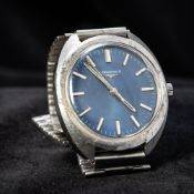 A stainless steel cased Longines gentleman's wristwatch The blue dial with batons. 3.75 cm wide.