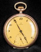 An Omega 800 silver cased open faced pocket watch The champagne dial with Arabic numerals and