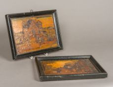A pair of early 18th century Dutch straw work pictures Each depicting an exterior tavern scene,