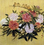CHIEN-YING CHANG (1913-2004) Chinese Rhododendron and Two Birds Mixed media,