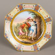 A 19th century Vienna painted porcelain plate Of octagonal form,