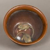 A 19th century cold painted bronze animalier group Formed as two mice trapped in a bowl.