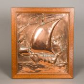 An Arts & Crafts copper panel Decorated in relief with a sailing ship at full mask, framed. 46.