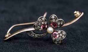 A Victorian diamond, pink tourmaline and