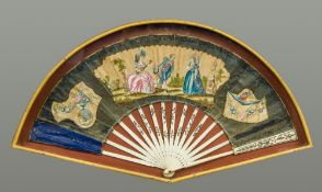 An 18th century French decorated fan