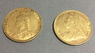 Two gold sovereigns,