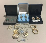 Three pairs of boxed earrings and a quantity of miscellaneous jewellery