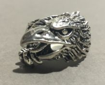 A silver ring formed as an eagle
