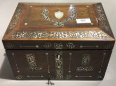 A Victorian mother-of-pearl inlaid rosewood box