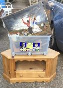 A pine corner cabinet and a quantity of pictures