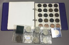 A collection of coins in an album