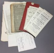 A quantity of 19th century and later printed ephemera, comprising indentures, newspapers, letters,