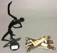 A Hagenhauer style bronze dancer together with a cold painted bronze group After BERGMAN