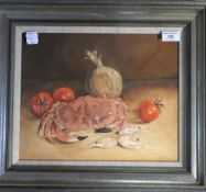 ISOBEL WATSON (20th/21st century) British, Still Life With Crab and Prawns, watercolour, signed,