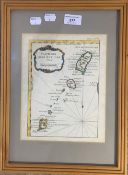 Partie des Isles Antilles, hand coloured map,