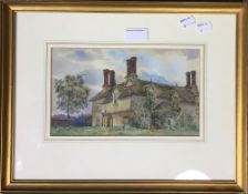 Riverscape, watercolour, framed and glazed, together with a watercolour of a country cottage,