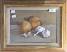 ISOBEL WATSON (20th/21st century) British, Still Life of Onions and Garlic, watercolour, signed,